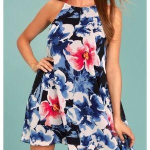 Here and Luau Navy Multi Flor Print Swing Dress